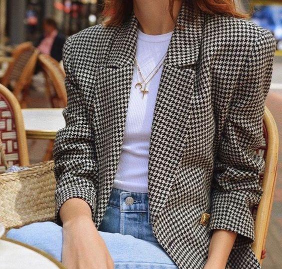 mode femme - pied de poule - jean